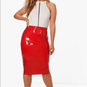 Red Vinyl Skirt